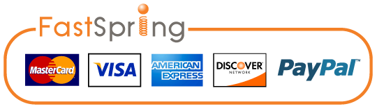 Secure ordering by FastSpring - We Accept MasterCard, Visa, American Express, Discover and PayPal.