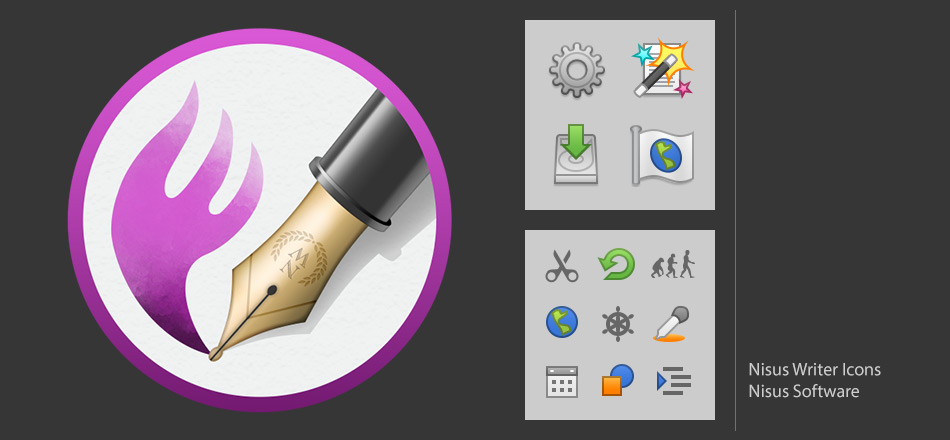 Nisus Writer Pro app and various other icons